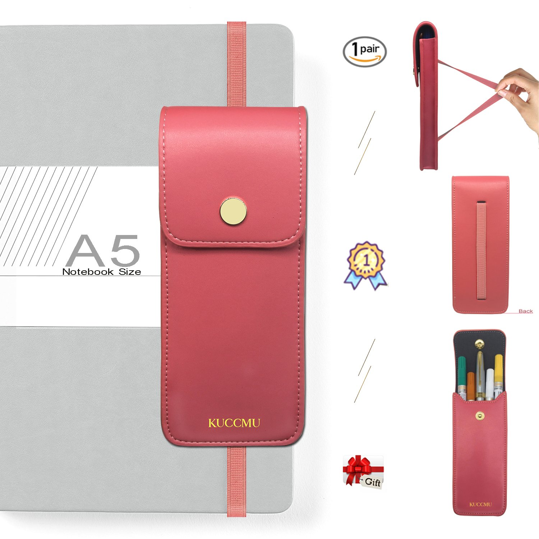 Microfibril Leather Pen Case for 4-6 Pens Pouch Pen and Pencil Case (Pink)