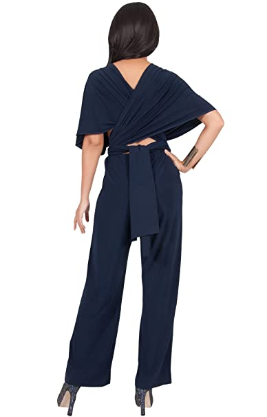 4c6f971a9ff Koh Koh® Women s Infinity Convertible Wrap Party Cocktail Jumpsuit Romper  Pants - X-Large - Navy Blue (2)  Amazon.co.uk  Clothing