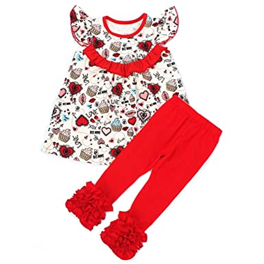 Amazon Com Aiqqwit Baby Girls Valentine S Day Outfit Red Hearts Top