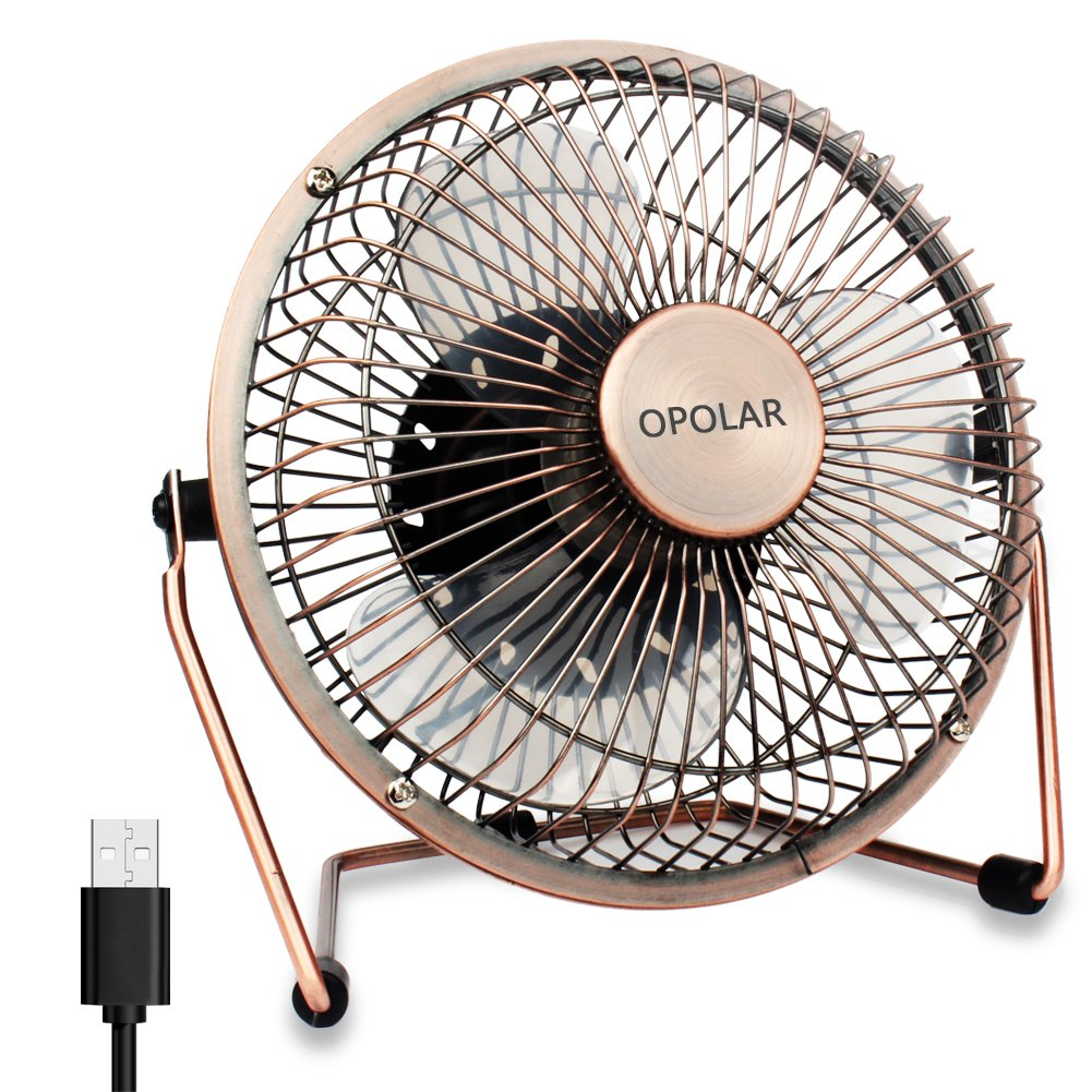 OPOLAR Mini USB Table Desk Personal Fan (USB Powered, Metal Design, Quiet Operation; 3.9 ft USB Cord, Handheld Size, Power Saving - Pink) FBA_10-1000-F403