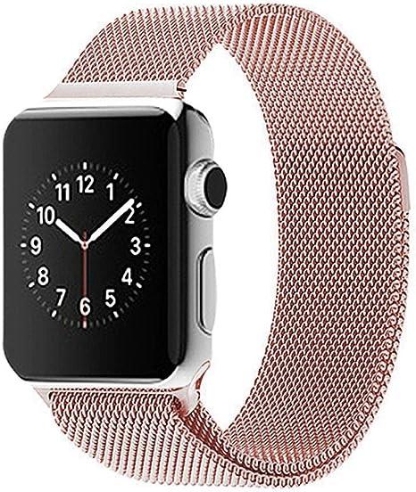 apple iwatch correas 38, Apple Watch Correas para relojes,SUNDAREE® 38mm Correa de Acero Inoxidable Reemplazo de Banda de la Muñeca para Apple Watch Todos los Modelos No Hebilla Needed (oro rosa-38mm): Amazon.es: