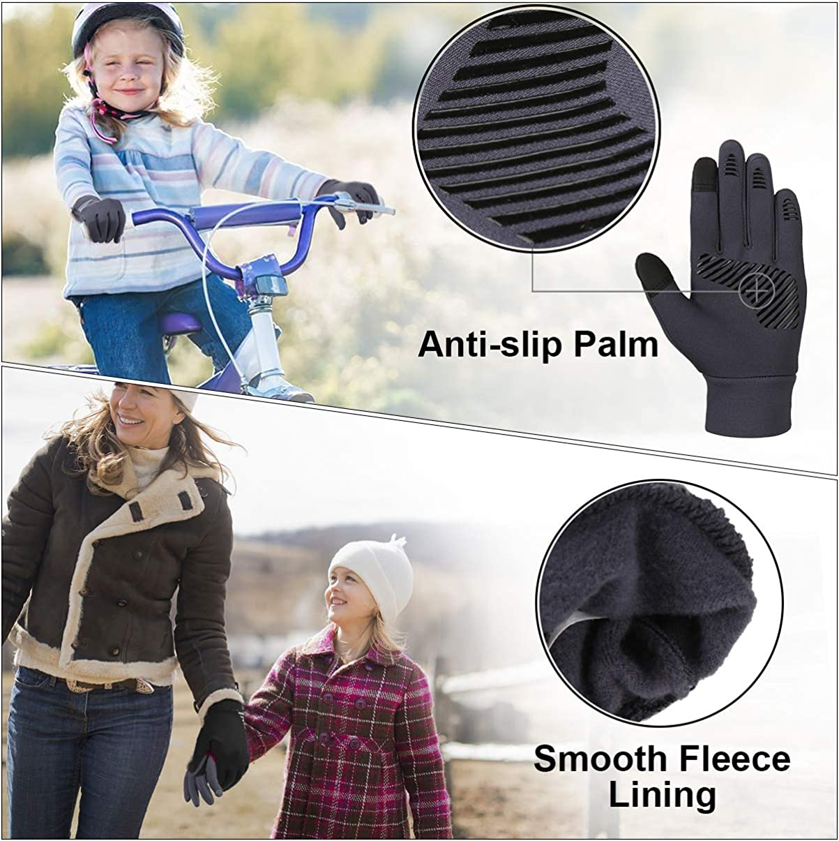 Enfant Gant Hiver avec /Écran Tactile Gant de Chaud Anti-d/érapant /âg/és de 4 /à 12 Ans
