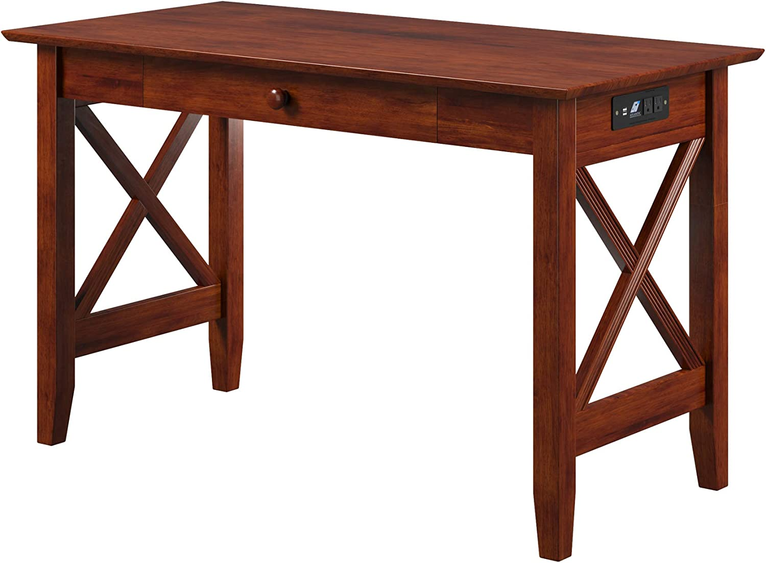 Atlantic Furniture Lexi Desk with Drawer and Charging Station, Walnut