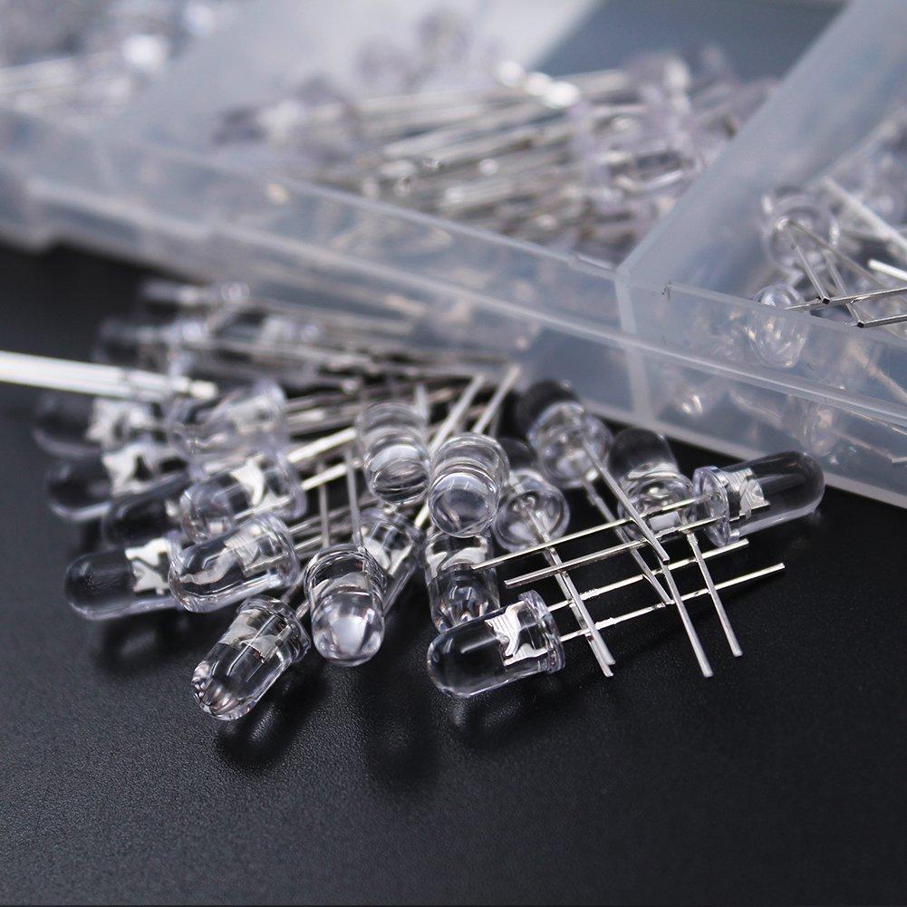 10 colori x pezzi DiCUNO 200PCS 2PIN LED luce che emettono diodi lampada testa rotonda resistore assortiti kit 3 mm