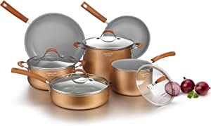 cooper pan Signature 10-Piece Ceramic Nonstick Aluminum Cookware Set, Induction Compatible Pots and Pans Set, Dishwasher Safe Oven Safe PTFE PFOA Free-Copper