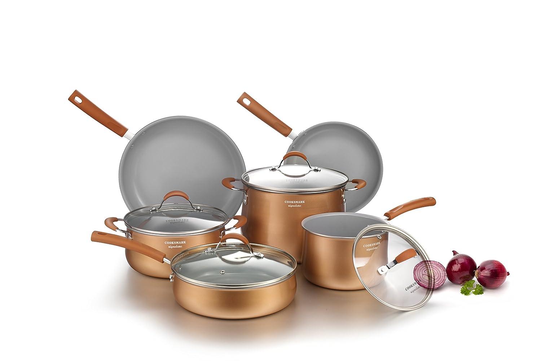 Cooksmark Signature 10-Piece Ceramic Nonstick Aluminum Cookware Set, Induction Compatible Pots and Pans Set, Dishwasher Safe Oven Safe PTFE PFOA Free-Copper