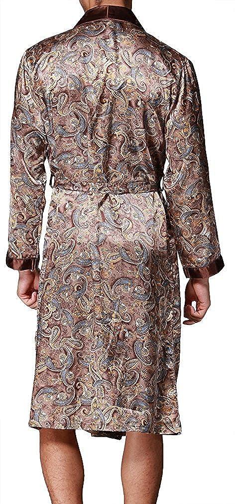 L-XXL Stili di Moda Evening Dressing Gown VERNASSA Uomo Accappatoio Lungo in Raso Pigiami e Abbigliamento//Notte Satin Vestaglie//Kimono Bagno Vestito