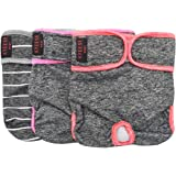 kyeese Sports Reusable Female Dog Diapers Breathable 3 Pack Dog Wraps with Inside Pocket Waist 21''-27'' for Medium Dogs