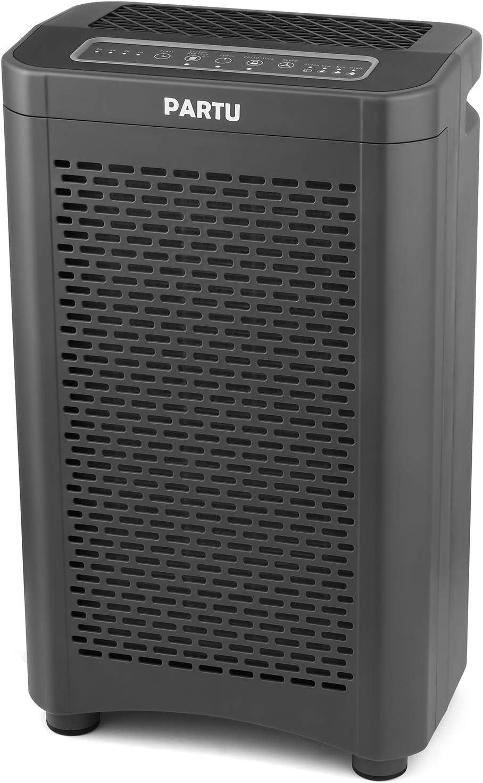 PARTU purificador de Aire Air Purifier con Filtro Combinado Hepa y Filtro de carb/ón Activo 165x166 mm luz Nocturna en 7 Colores y funci/ón de Memoria para al/érgicos y Fumadores