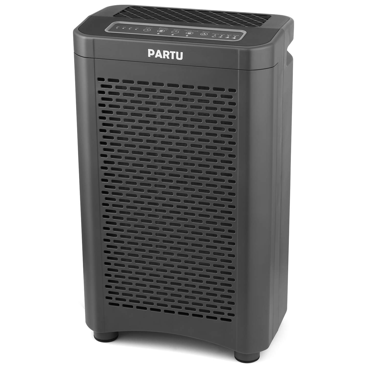 PARTU Air Purifier True HEPA Filter for Large Room with 28dB, Air Cleaner for Dust, Pollen, Pet Hair, Mold, Eliminate Odor Relieve Allergies Symptom, Child – Lock 4 Timer Modes