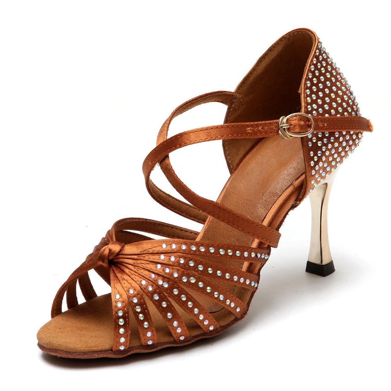 """BCLN Womens Open toe Sandals Latin Salsa Tango Heels Practice Ballroom Dance Shoes with 3.3"""" Heel"""