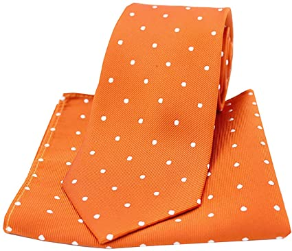 74359304aceb Soprano Burnt Orange and White Polka Dot Silk Tie and Pocket Square: Amazon. co.uk: Clothing