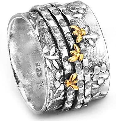 Boho-Magic Spinner Ring for Women 925 Sterling Silver with Brass Hearts and Fidget Bands