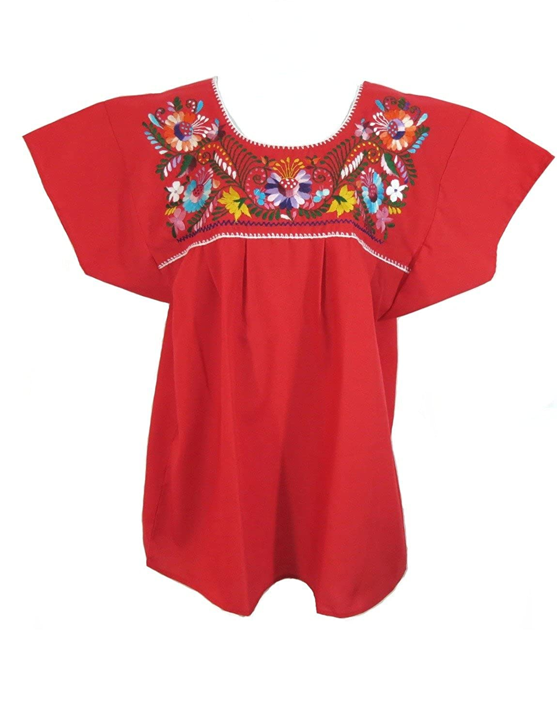 Women's Traditional Red Mexican Puebla Blouse - DeluxeAdultCostumes.com