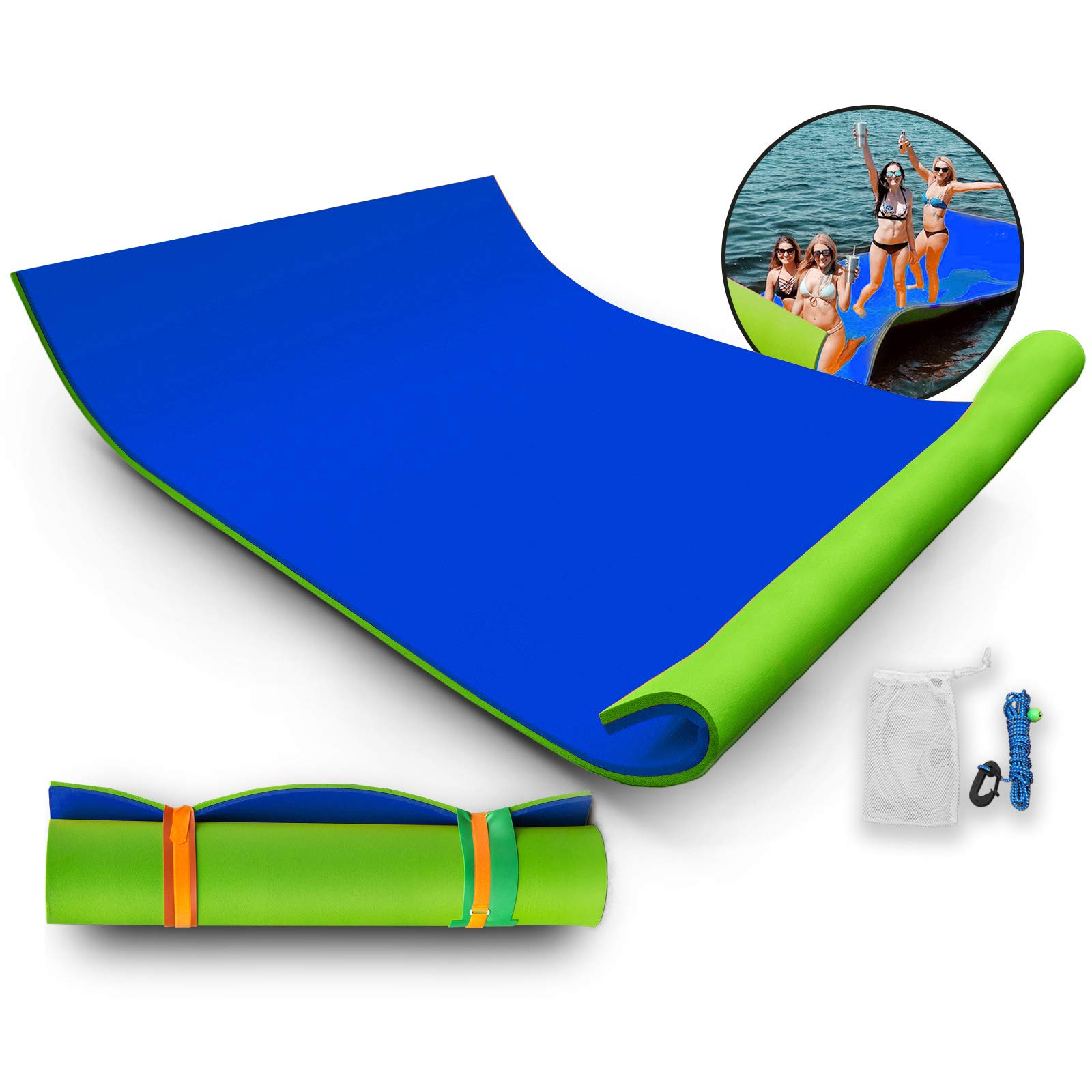 Popsport Floating Mat Floating Foam Pad Water Premium Floating Water Pad for Water Recreation and Relaxing Lily Pad for Adults and Kids (9X6ft Blue Green) by Popsport