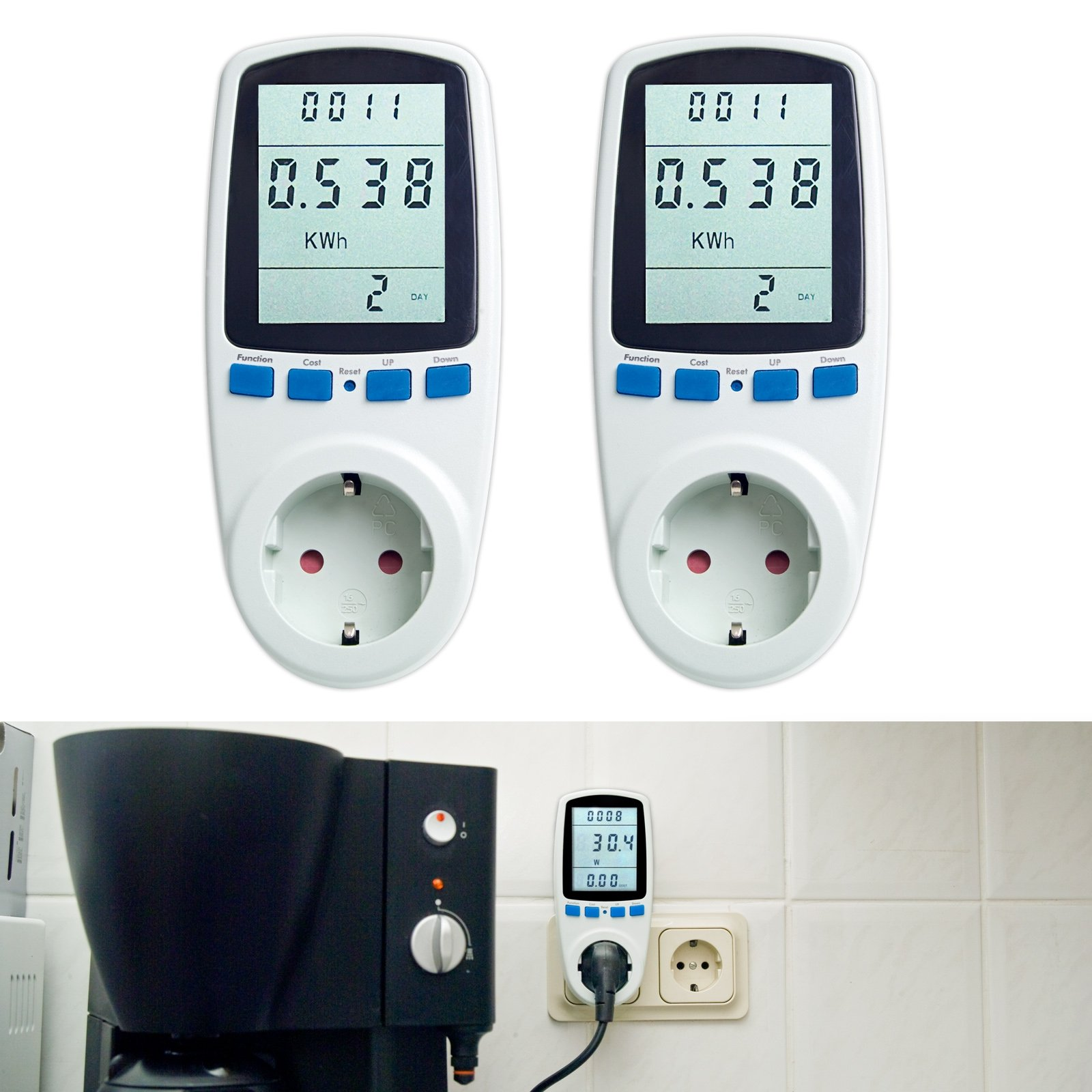 Asigo 2er Set Energiekosten-Messgerät Premium, Stromtarif frei einstellbar, Stromverbrauch, Energiekostenmessgerät, Stromverbrauchszähler | Deutscher Hersteller product image