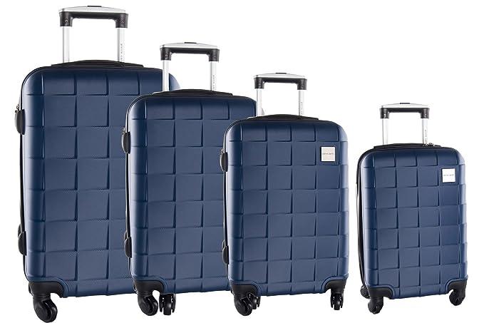 4 Maletas rígidas PIERRE CARDIN azul cabina para viajes 4 ruedas abs VS91: Amazon.es: Ropa y accesorios