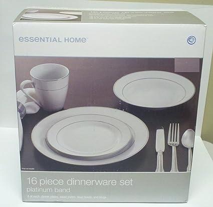 Essential Home 16 Pc Dinnerware Set Platinum band & Amazon.com   Essential Home 16 Pc Dinnerware Set Platinum band ...