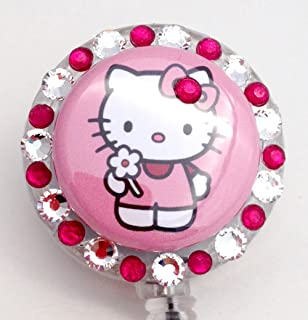 Amazon red hello kitty card holder hello kitty id holder hello kitty id badge reel pink and clear reheart Images