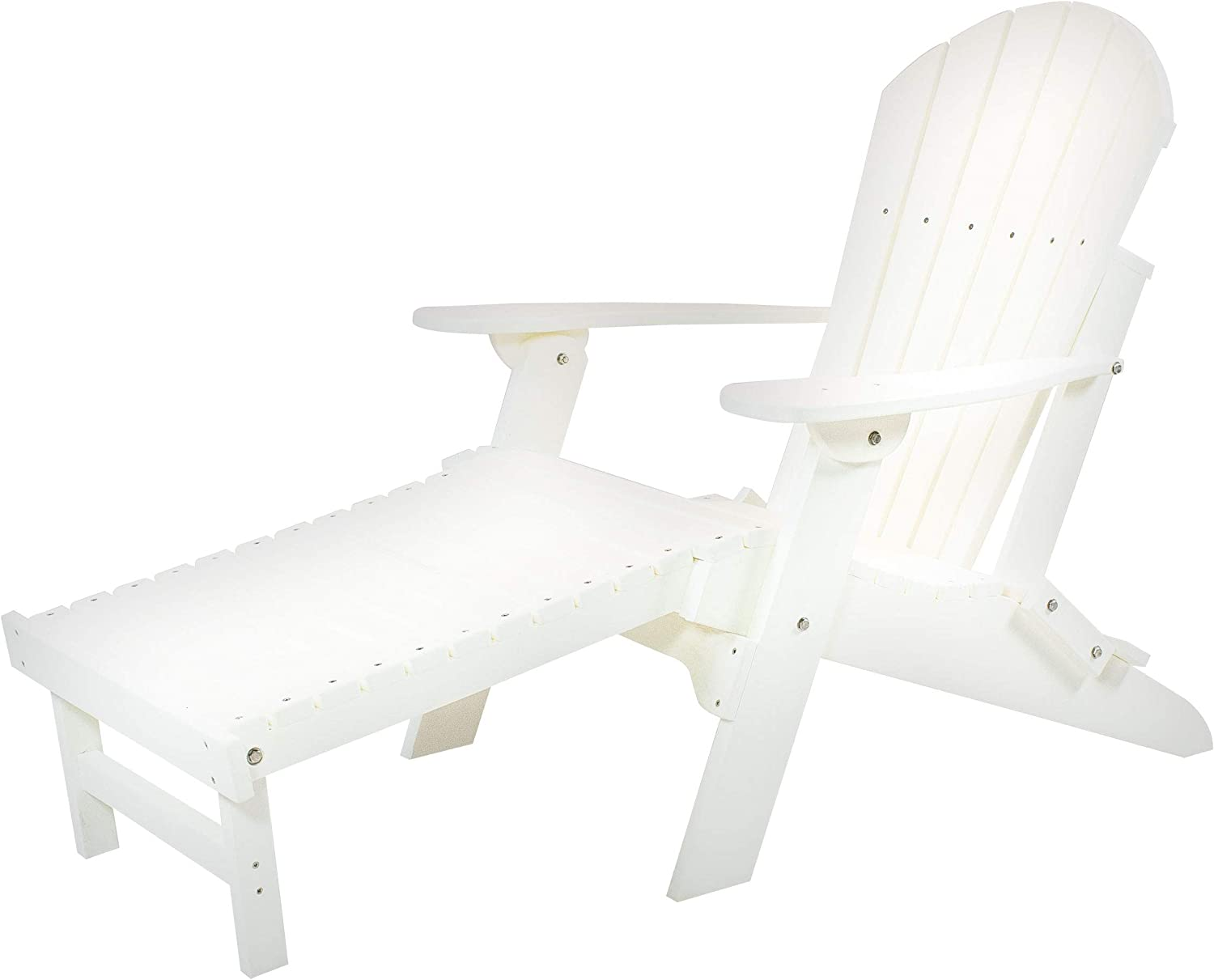 Amish Made Poly Folding Adirondack with Pull Out Ottoman (White)