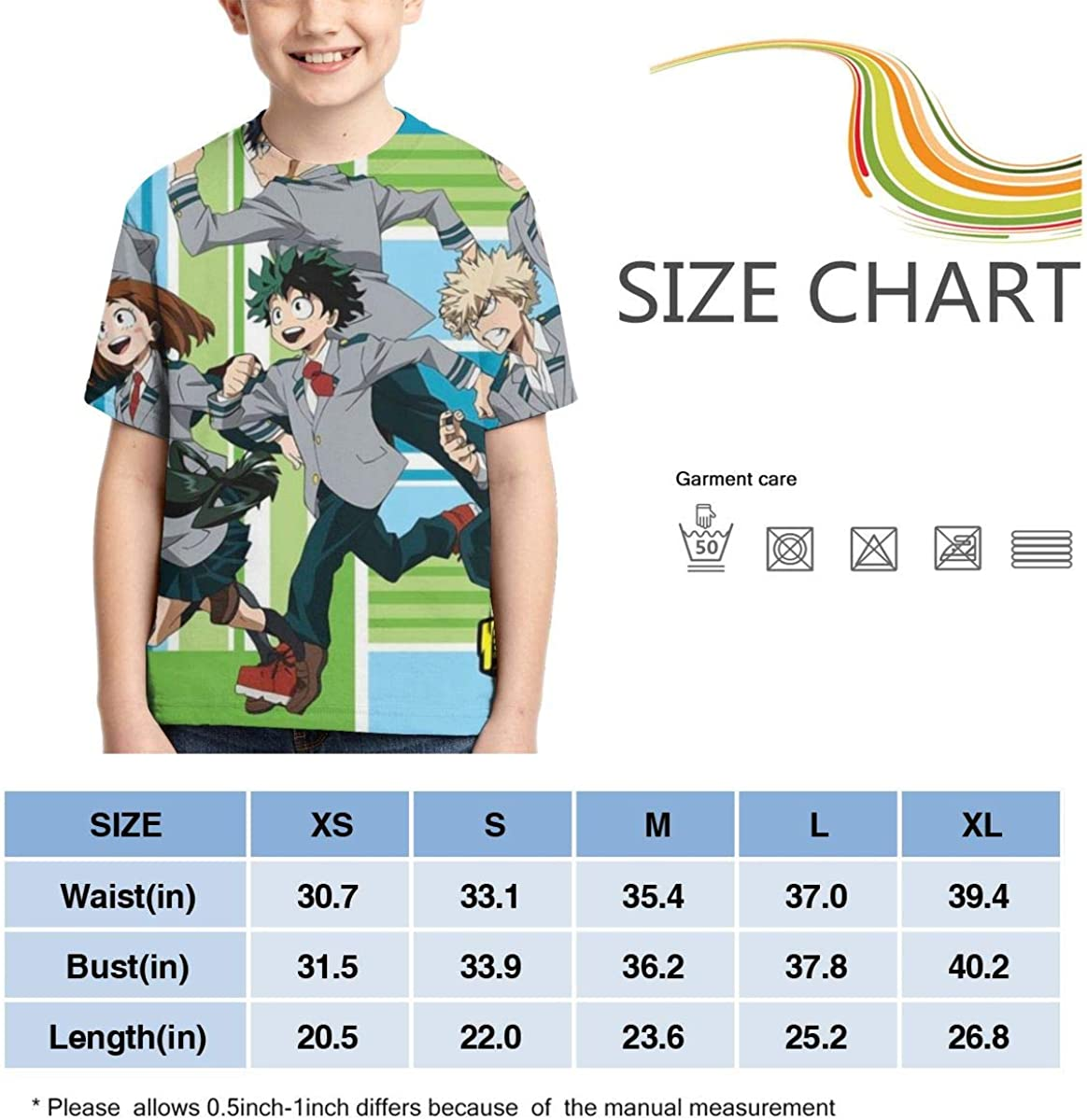Hatstng My Hero Academia Boys Girls 3D Print Crew Tee Youth Short Sleeve T-Shirt Tanks Tops