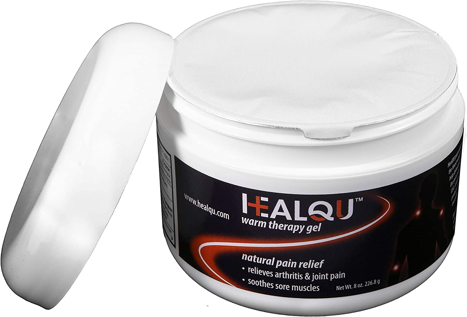 Pain Relief Gel by HealQu, 8oz Warm Therapy Natural Pain Relieving Gel for Knee, Joint & Back Pain, Long-Lasting Topical Pain Reliever.