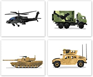 Army Military Vehicles Wall Art - Set of 4 Posters // Boys Bedroom // Kids Room Decor // Birthday Party Decoration // Army Theme Nursery Prints // Tank Helicopter Hummer Humvee (8x10, Set 4)
