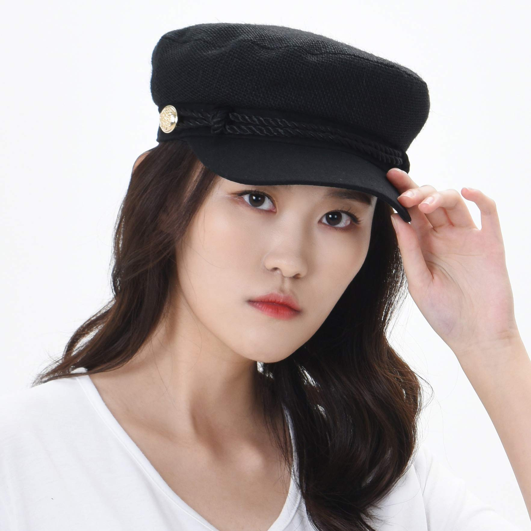 WITHMOONS Women Linen Newsboy Cap Mesh Breathable Summer Hat MUG1164 (Black) by WITHMOONS (Image #3)