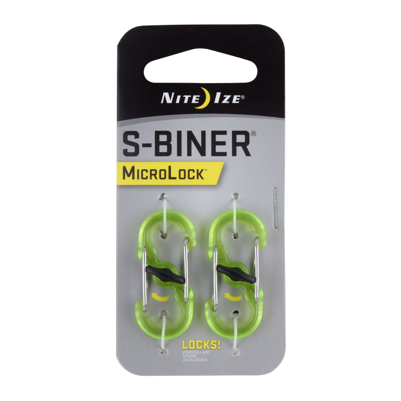 Nite Ize S-Biner MicroLock Polycarbonate - 2 Pack - Lime