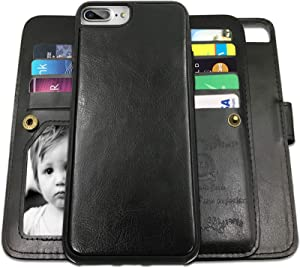 iPhone 8 Plus Case,iPhone 7 Plus Wallet Cases with Detachable Slim Case with 9 Card Slots,Stands,Strap for iPhone 7 Plus(2016)/8 Plus(2017),CASEOWL 2 in 1 Folio Leather Removable TPU Case(Black)