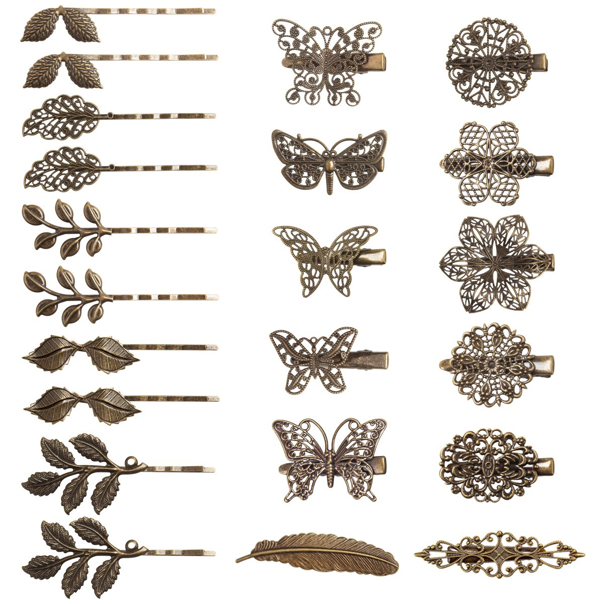 Jaciya 22 Pack Vintage Hair Clips Barrettes Bronze Leaf Bobby Pin Flower Butterfly Hair Clip for Girls and Women, 22 Mix Styles