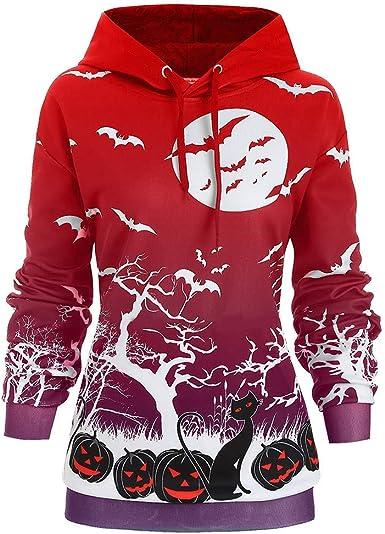 Eoeth Mens Halloween Hooded Sweatshirt Print Long Sleeve Zipper Jacket Outwear Coat Windbreaker Sportswear with Pocket
