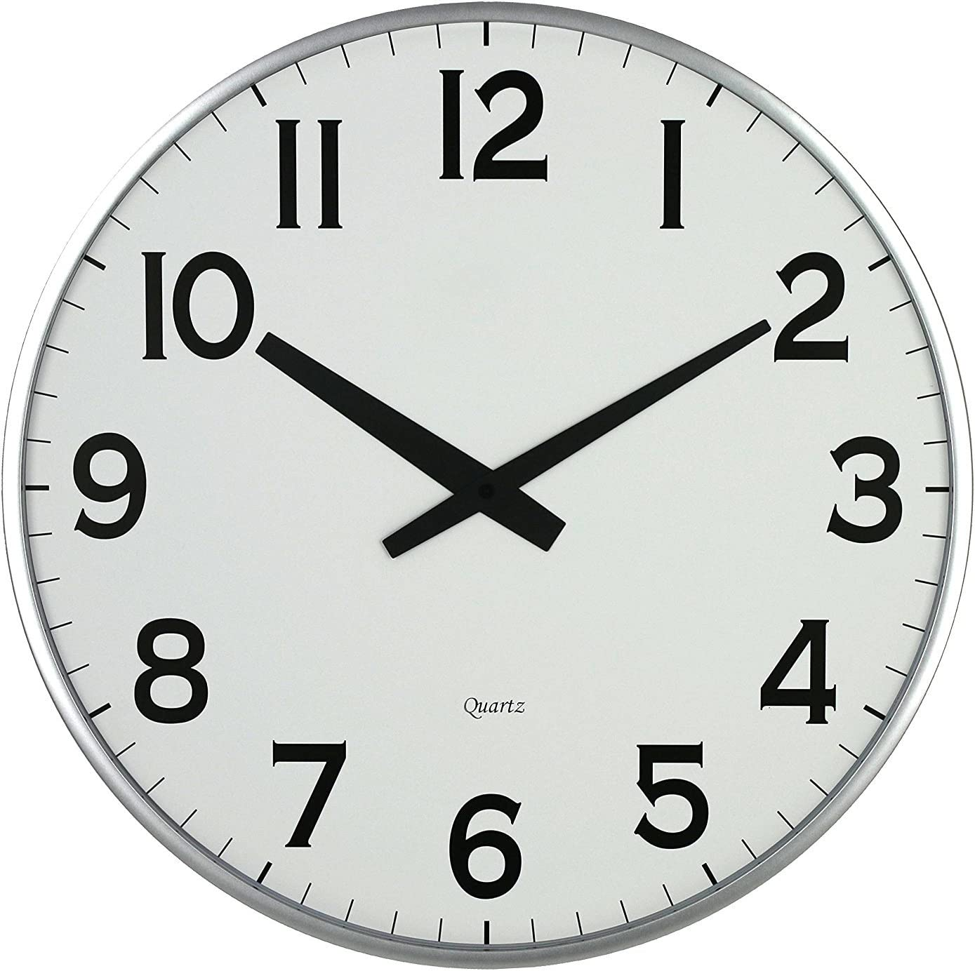 """Lulu Decor, 18"""" Slim Large Wall Clock, Round Modern Sleek Design only 0.75"""" Thick, Large Wall Clock Battery Operated (Slim Silver)"""