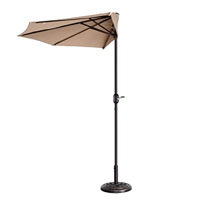 VILLACERA 83-OUT5461 9' Outdoor Patio Half 5 Ribs Fade Resistant Condo or Townhouse Umbrella in Beige : Garden & Outdoor