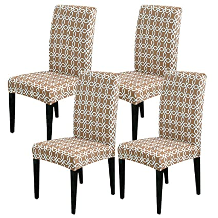 YIMEIS Chair Covers for Dining Room, Set of 4 Camel Fabric Stretch Dining  Room Chair Covers, Removable Washable Plush Chair Covers for Home Party ...