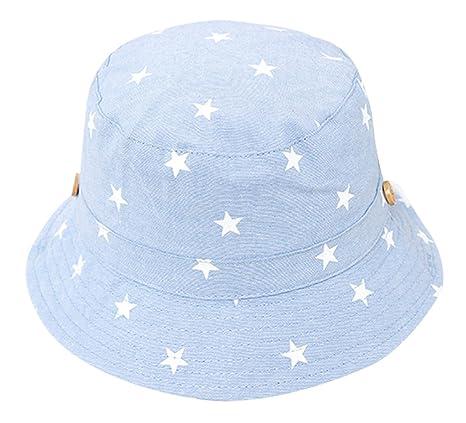 RUHI Kinder Hut Stern Druck Baby Baumwolle Fischerhut Kinder Sonnenhut Kids Mütze sternchen Aufdruck Kleinkinder Sommerhut UV