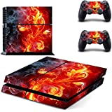 Elton Flame Flower Theme Skin Cover for PS4 Console and Controllers