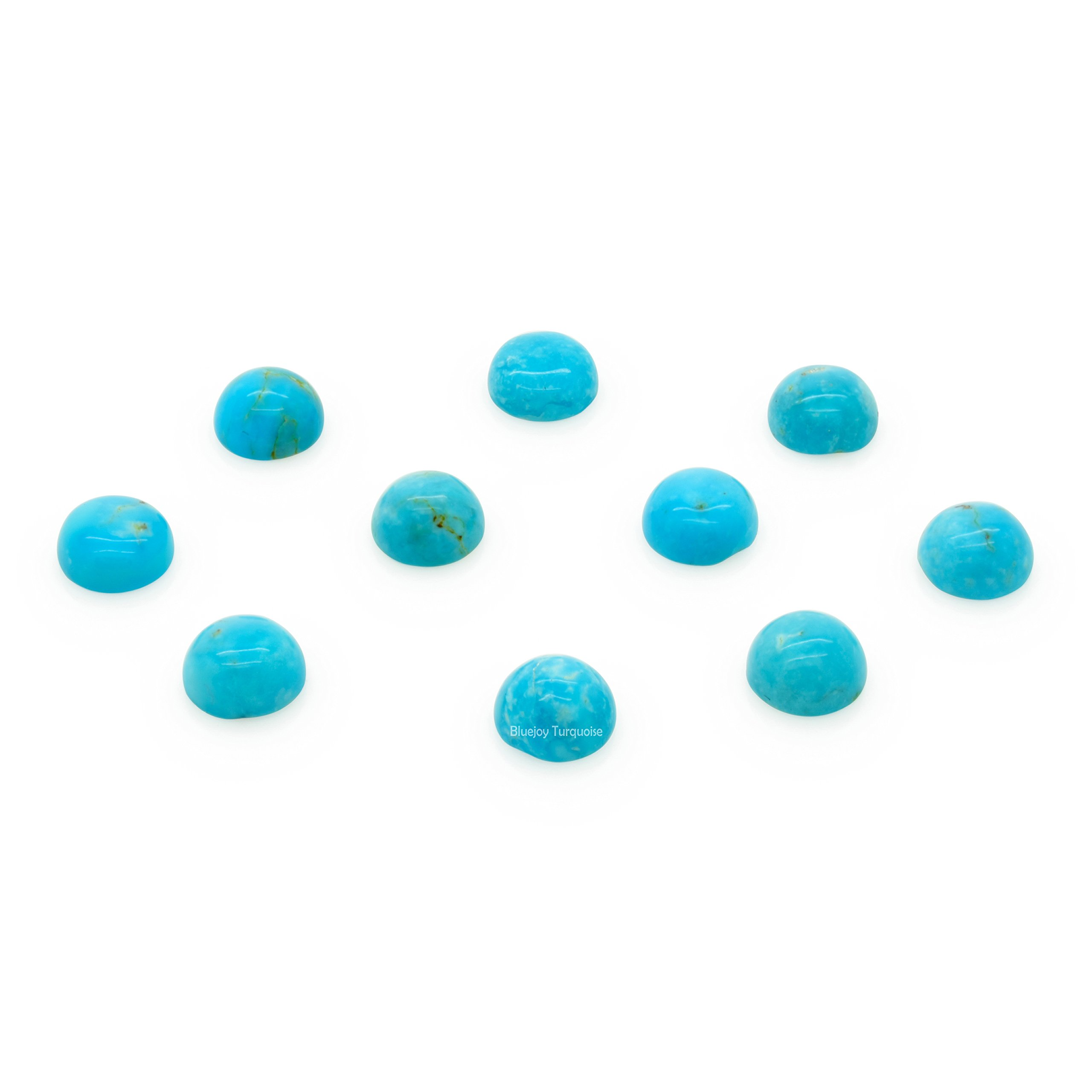 Bluejoy Genuine Natural American Turquoise Calibrated Cabochon - 6mm Round (6-Stones Pack)