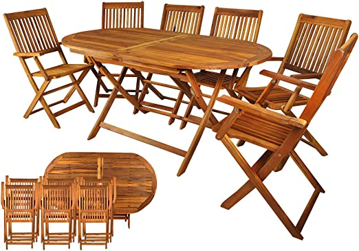Salon de jardin en bois naturel huilé 1 table + 6 chaises ...