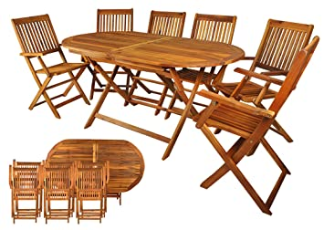 Salon de jardin en bois naturel huilé 1 table + 6 chaises: Amazon.fr ...
