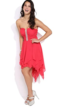Deb Junior Strapless High Low Prom Dress with Ruched Bodice and Hanky Hem Coral 7
