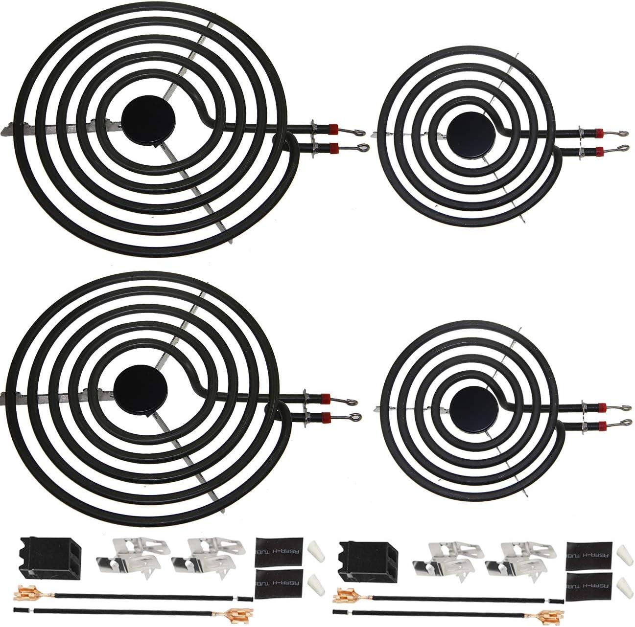 "MP22YA For Hardwick & Jenn Air & Kenmore & Norge & Whirlpool Electric Range Stove 6 Pack Electric Range Burner Element Unit Set - 2 MP15YA 6"" and 2 MP21YA 8""and 2 330031 Receptacle kits"