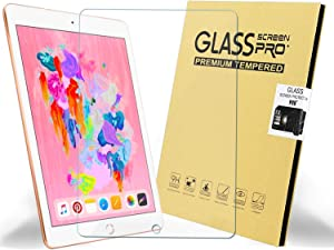 KIQ iPad Air/Pro 9.7/5th/6th Tempered Glass Screen Protector 0.30mm 9H case-Friendly self-adhere Easy to Install with Cleaner Cloth for Apple iPad Air 1/2, Pro 9.7, 5th(2017) 6th(2018) Gen