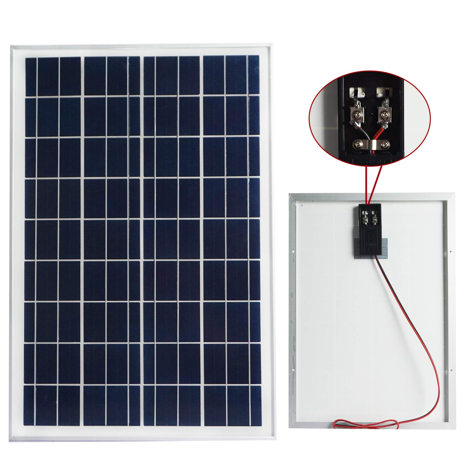 Eco Worthy 20w 12v Ip65 Solar Panel Kit Off Grid It Take To Fully Charge With The Circuit Schematic 3 Polycrystalline Aluminum Battery Clips 3a Controller Garden
