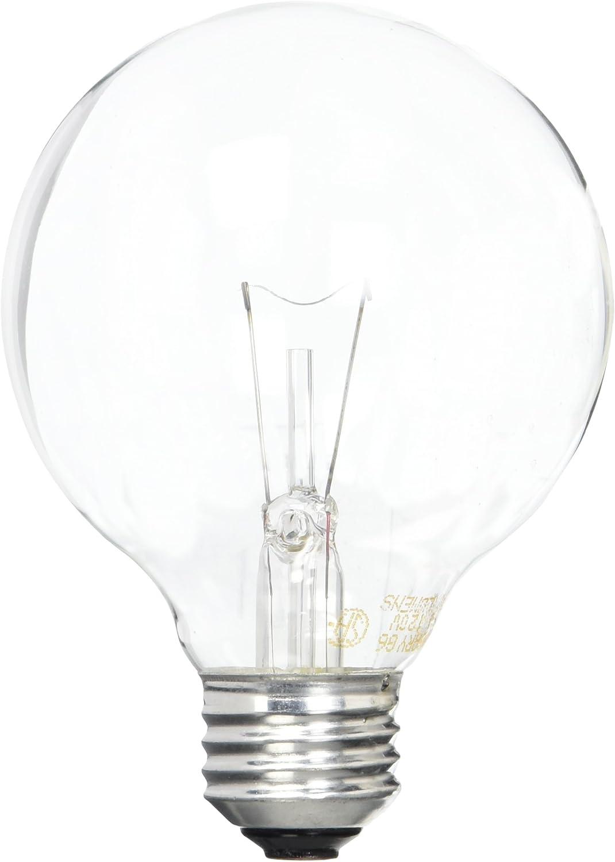 GE Lighting 12983 25-Watt G25 Globe Light Bulb, Crystal Clear