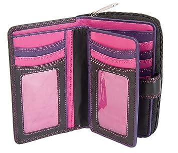 Cartera de piel para mujer Visconti mediana negro Rosa violeta R-13 - envío sin color: Amazon.es: Equipaje
