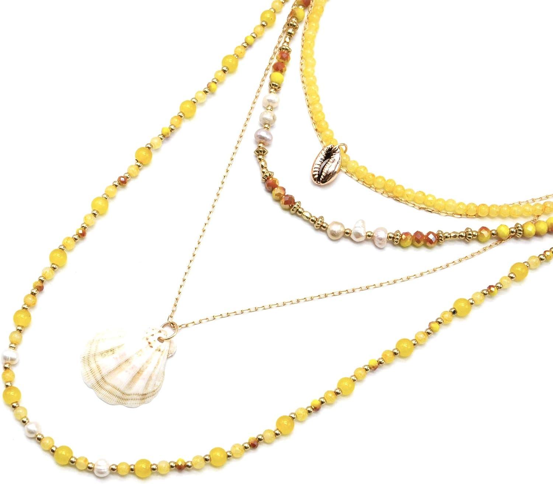 Oh My Shop CL2337F – Collar largo con varias bandas de perlas de cristal, agua dulce, piedras mostazas con concha y cacao
