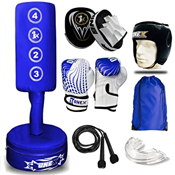 Blk Sonia Traders Kids//Junior Blue 3.5ft Free Standing Boxing Punch Bag and Punching Gloves 4oz,Focus Pads pair Heavy Duty Set Skipping Rope