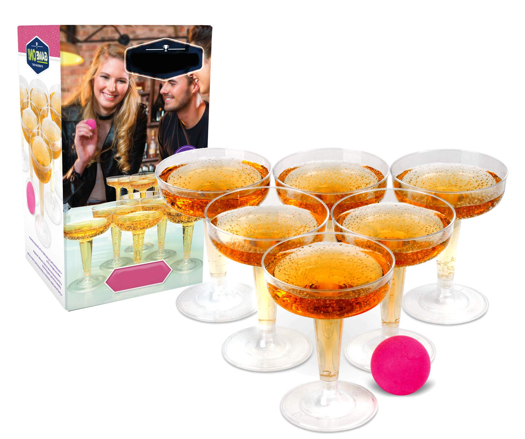 Ideas In Life Champagne Pong Classic Party Drinking Game Set - Contains 12 Plastic Reusable Glasses and 6 Pink Pong Balls for Weddings, Parties and More by Ideas In Life