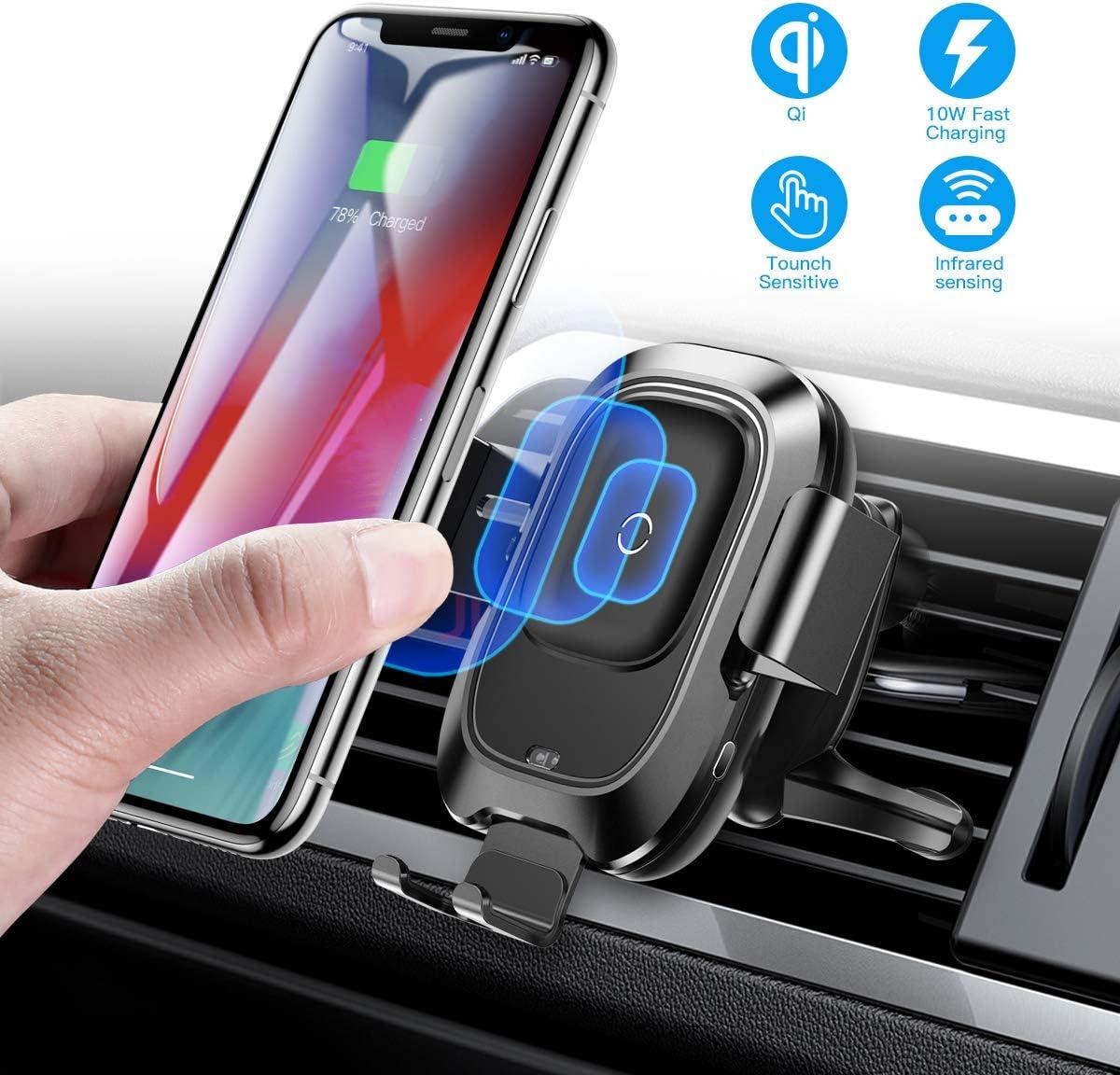 Baseus Cargador Inalámbrico Coche, para Ventilar de Aire del Soporte de 10W Qi Carga Rápida, con sujeción automática, compatible con iPhone 11/11 Pro, Galaxy Note 9 y smartphones para Qi 4.7